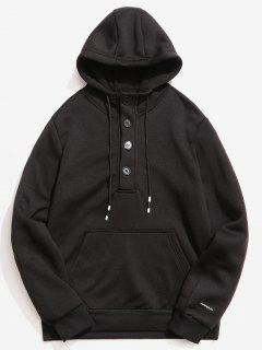 Buttons Embellished Fleece Hoodie - Black Xs