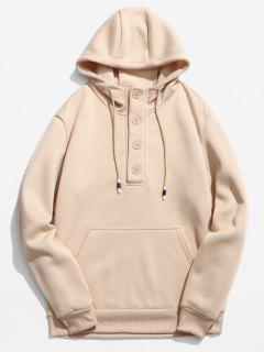 Buttons Embellished Fleece Hoodie - Khaki Xs