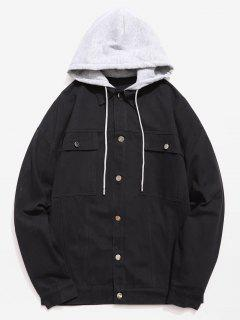 Multi Pockets Design Single Breasted Hooded Jacket - Black L