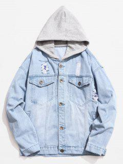 Hooded Button Fly Ripped Denim Jacket - Pastel Blue Xl