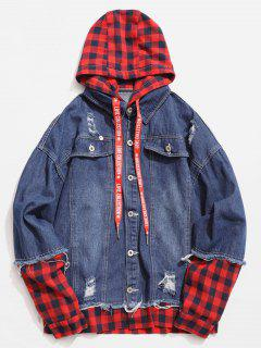 Plaid Spliced Hooded Distressed Denim Jacket - Deep Blue Xl
