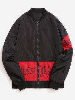 Letters Printed Stand Collar Zip Fly Jacket - Black M