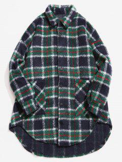 Single Breasted Plaid Pattern Woolen Coat - Dark Green M