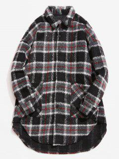 Single Breasted Plaid Pattern Woolen Coat - Gray M
