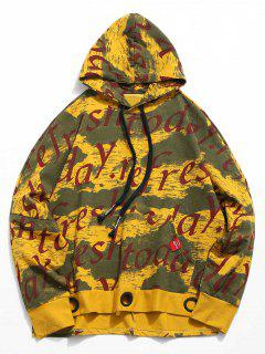 Letter Print Batwing Sleeve Hoodie - Yellow L