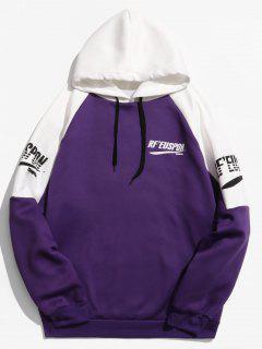 Raglan Sleeve Color Block Letter Print Hoodie - Purple Xl