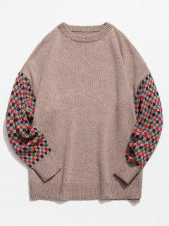 Colorful Checked Patch Knitted Sweater - Camel Brown M