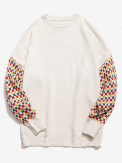 Colorful Checked Patch Knitted Sweater - White L