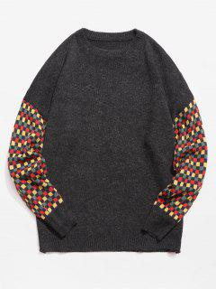 Suéter De Punto Parchado A Cuadros De Colores - Negro L
