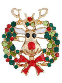 Colored Rhinestone Christmas Elk Party Brooch - Multi
