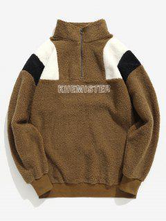 Half Zip Letter Contrast Fluffy Sweatshirt - Deep Brown M