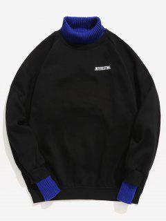 Edge Patchwork Contrast Fleece Sweatshirt - Black M