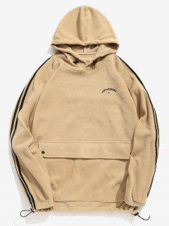 Side Stripe Pocket Fluffy Hoodie - Khaki L