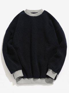 Elastic Trim Letter Fluffy Sweatshirt - Black L
