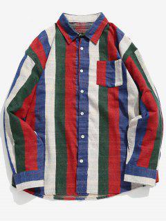 Contrast Vertical Striped Pocket Shirt - Lava Red M