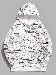 Marble Pattern Print Hoodie - White M