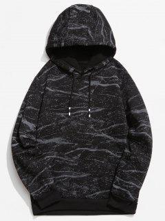Marble Pattern Print Hoodie - Black Xs