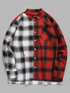 Color Block Plaid Pocket Shirt - Lava Red L