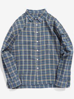 Lässige Plaid Button-Up-Shirt - Dunkel Blau Xl