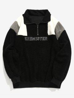 Half Zip Letter Contrast Fluffy Sweatshirt - Black L