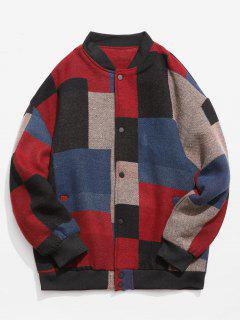 Color Block Woolen Jacket - Red Xl