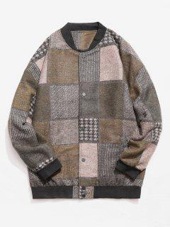 Color Block Woolen Jacket - Army Green M
