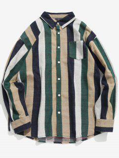 Contrast Vertical Striped Pocket Shirt - Medium Sea Green L