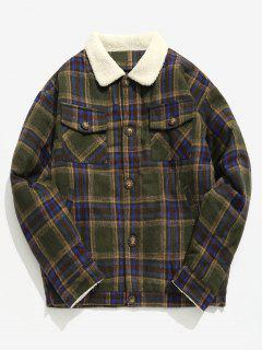 Edge Fluffy Pocket Plaid Woolen Jacket - Army Green M