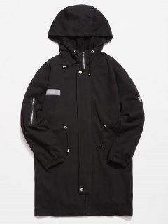 Reflective Strip Trech Coat - Black 2xl