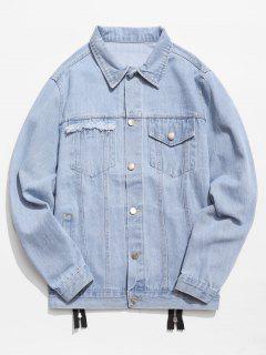 Graphic Zipper Patchwork Denim Jacket - Denim Blue Xl