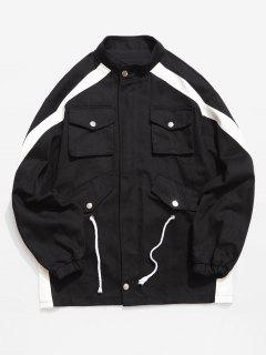 Contrast Stripe Pockets Denim Jacket - Black 2xl