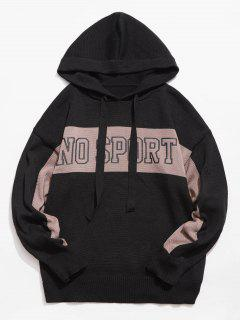 Chinese Character Hooded Knitted Sweater - Black 2xl