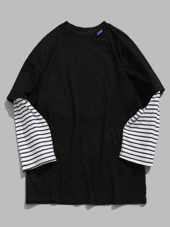 Striped Letter False Two Piece T-shirt - Black Xl