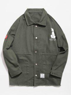Button Fly Animal Pattern Jacket - Army Green L