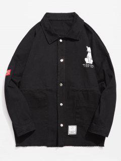 Button Fly Animal Pattern Jacket - Black M