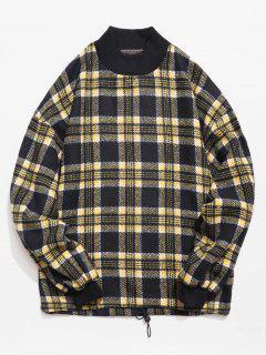 Casual Plaid Woolen Sweatshirt - Dark Slate Blue L