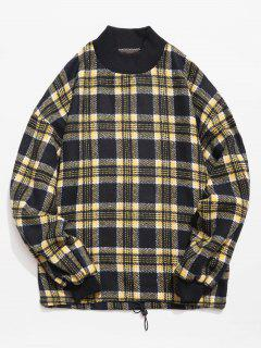 Casual Plaid Woolen Sweatshirt - Dark Slate Blue M