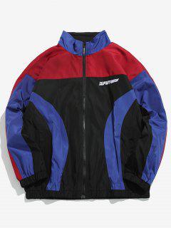 Color Block Windproof Jacket - Lava Red L
