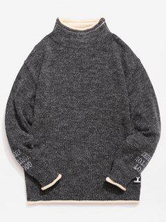 Suéter De Punto Con Borde De Contraste En Contraste - Gris Carbón Xl