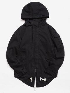 Back Split Hooded Trench Coat - Black M