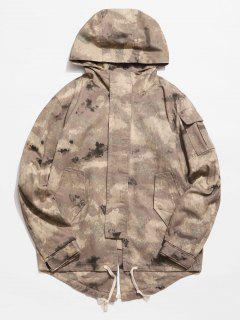 Back Split Hooded Trench Coat - Acu Camouflage Xl