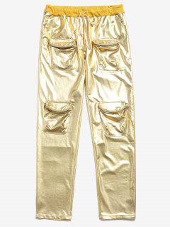 Metallic Drawstring Zipper Pockets Pants - Yellow Xl