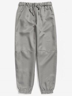 Drawstring Waist Loose Jogger Pants - Gray Cloud M