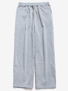 Drawstring Waist Wide Leg Pants - Gray M