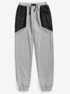 Drawstring Waist Mesh Panel Pants - Gray M