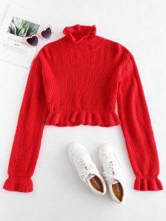 Solid Color Ruffles Crop Sweater - Red M