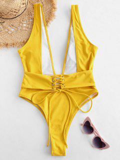 ZAFUL Plunging Lace Up Backless Swimsuit - Bee Yellow L