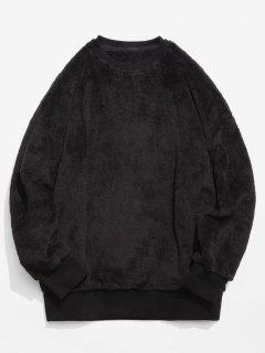ZAFUL Solid Crew Neck Fluffy Sweatshirt - Midnight Xl