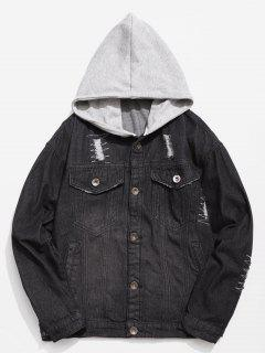 Hooded Button Fly Ripped Denim Jacket - Black L