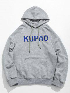 Front Pocket Letter Embroidery Hoodie - Gray Cloud Xl